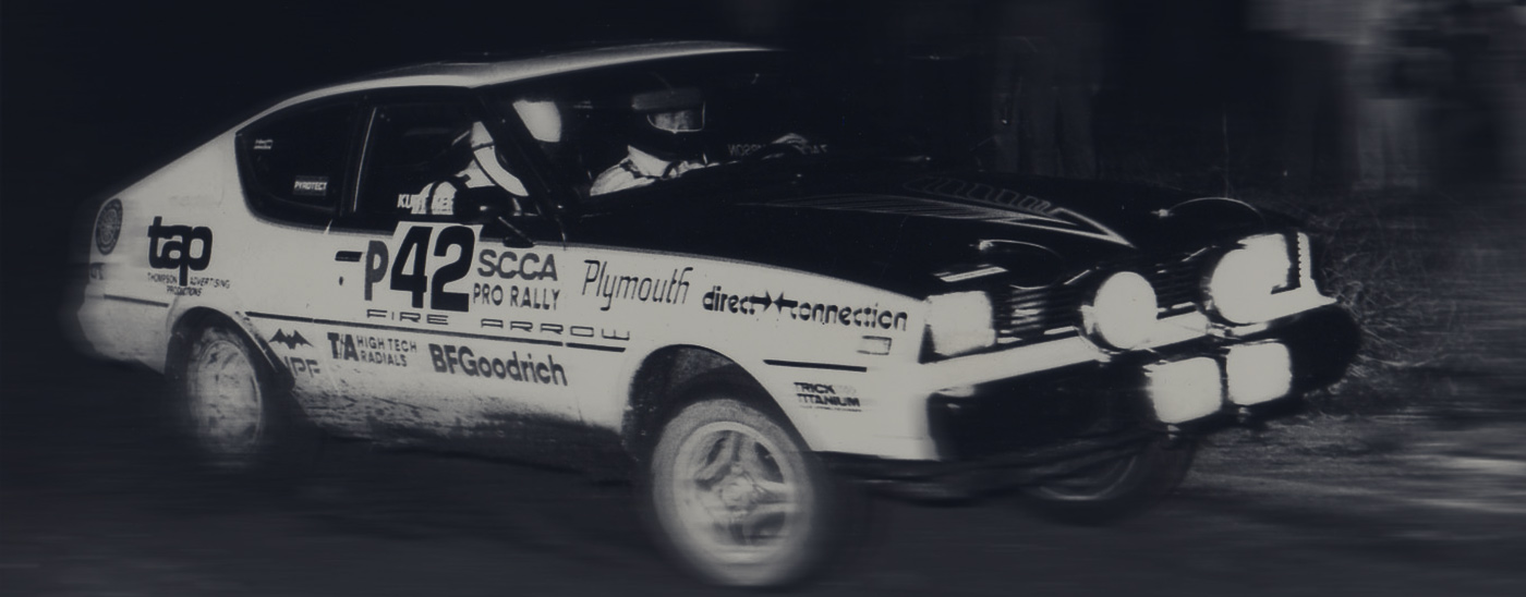 Vintage race car with graphics