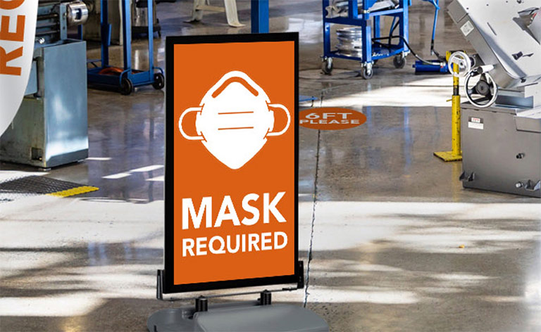Covid-19 Signage - Standup Mask Required sign